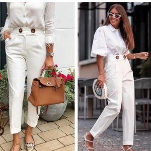 Zara Button High Waist White Trousers